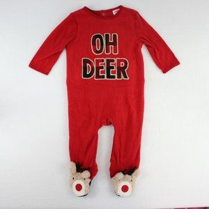 Holiday Time Footed Sleeper PJ One Piece Deer 6/9M